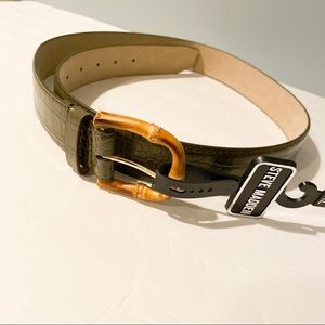 NWT Steve Madden belt green and wood tone
